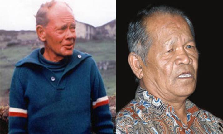 J.O.M Roberts (left) could have had a hand in banning Machhapuchhre said Dr. Harka Gurung (right).