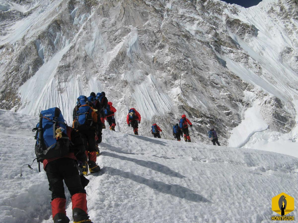 Climbers making their way to scale a mountain in Everest region of Nepal.