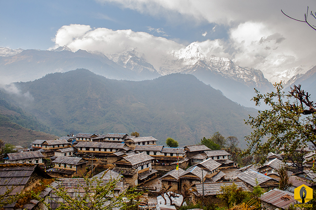 Picturesque Ghandruk village with mountain background.