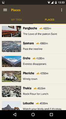 HoneyGuide App Places List View Everest Trek
