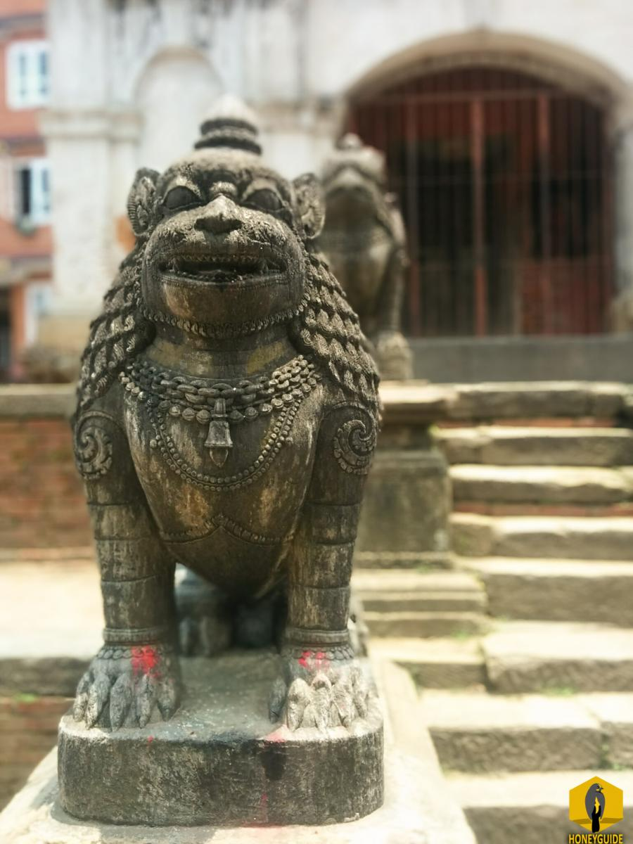 Komainu, are statue pairs of lion-like creatures guarding the entrance of the temple.