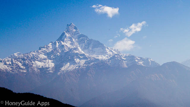"Machhapuchchhre literally means ""Fish Tail"" in English, is a mountain in the Annapurna Himal of north central Nepal."