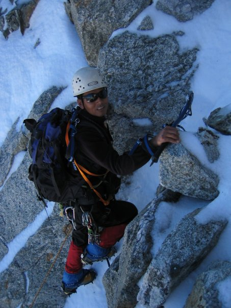 Pasang showing off his mixed climbing techniques during a training session in Nepal.