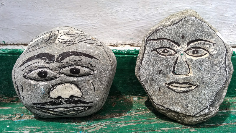 Faces in the stone.
