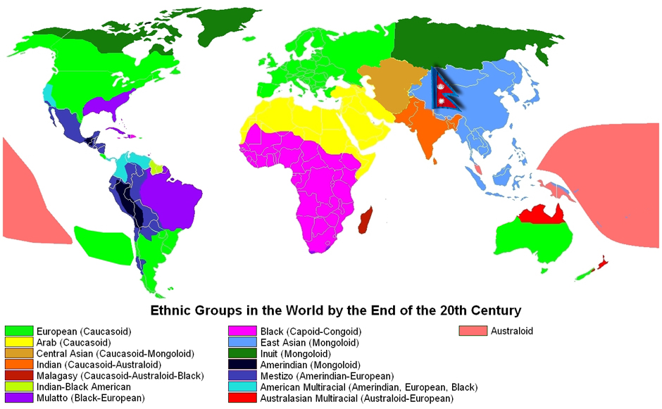 Ethnically, Nepal is located where the Caucasoid, Australoid and Mongoloid Ethnic groups come together.