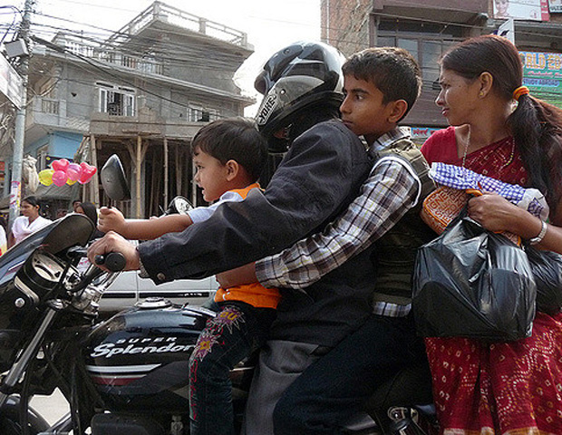 a family travelling together in Nepal
