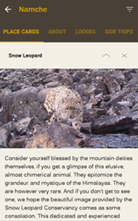 Everest Trek GUidebook Apps HoneyGuide Placecards Snow Leopard