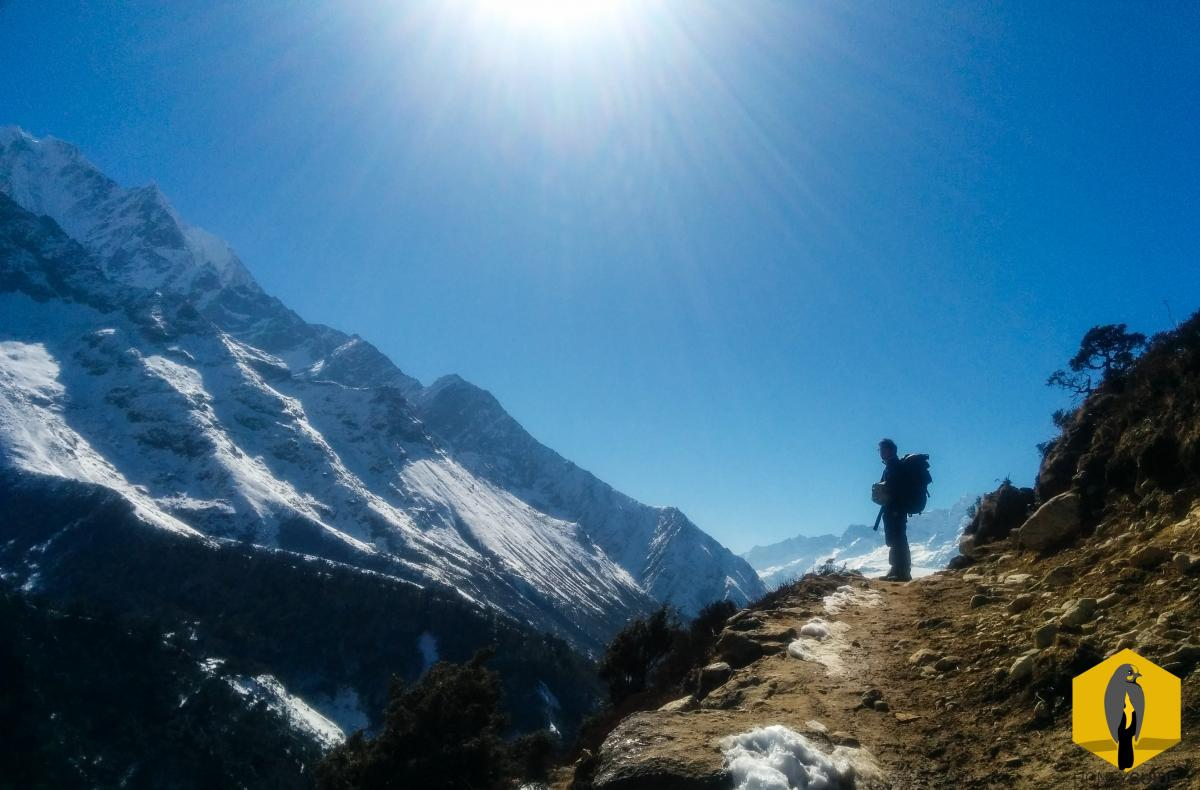 Trekking independently at the Everest region, Nepal.